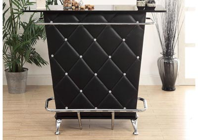 Fuero Black/Chrome Bar Table w/Open Back Storage