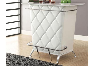 Fuero White/Chrome Bar Table w/Open Back Storage