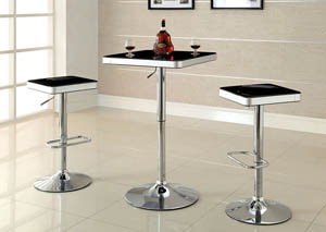 Veria Black Top Bar Table w/Height Adjustable Chrome Leg