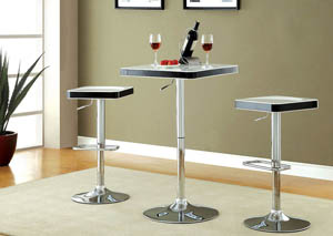 Veria White Top Bar Table w/Height Adjustable Chrome Leg
