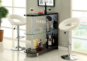 Numbi Black Lacquer Mini Server w/Glass Shelf & Wine Glass Hanger