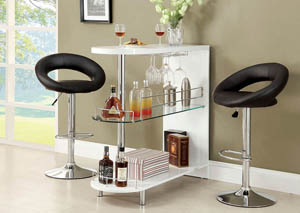 Numbi White Lacquer Mini Server w/2 Barstools