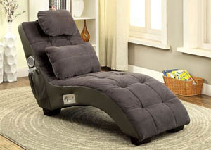 Worley Gray Chaise w/Matching Pillow & 2 Bluetooth Side Speakers