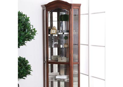 Julissa Oak 5-Tier Corner Cabinet w/Mirrored Back Panel