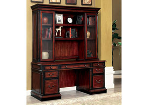 Strandburg Cherry & Black Credenza Desk w/Hutch