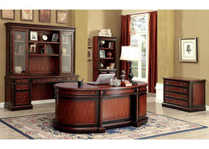 Strandburg Cherry/Black Oval Office Desk