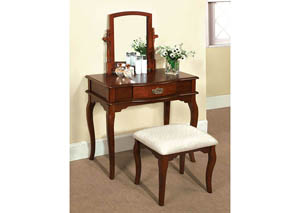 Madera Cherry Vanity Stool w/Padded Stool