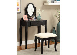 Samantha Black Vanity w/Stool