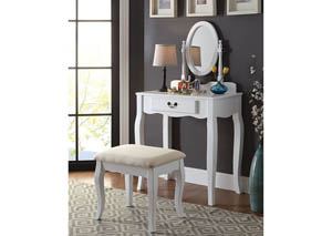 Samantha White Vanity w/Stool