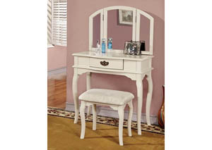 Winnette White Vanity Set w/Padded Stool