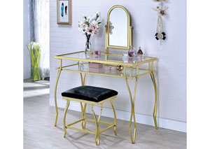 Kerrville Champagne Vanity Table w/Stool