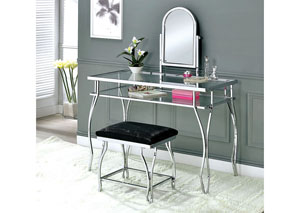 Kerrville Chrome Vanity Table w/Stool