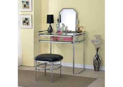 Colleen Chrome/Glass Vanity w/Stool