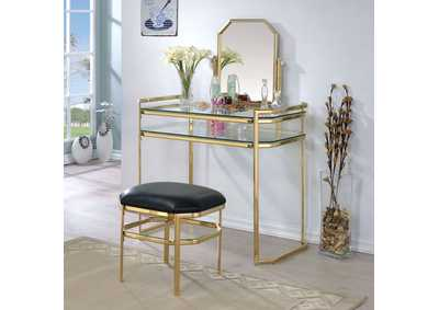 Colleen Gold/Glass Vanity w/Stool