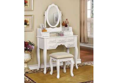 Harriet White Vanity w/Stool