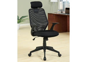 Cloverdale Black Padded Seat/Mesh Back Office Chair w/Adjustable Height