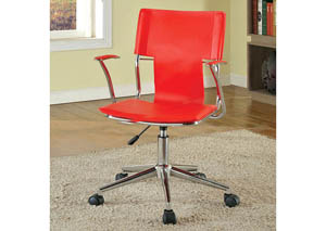 Zemin Red Leatherette Office Chair w/Pneumatic Adjustable Height