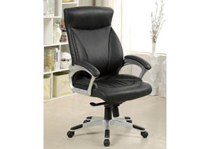 Orsik Black Top Grain Leather Office Chair w/Pneumatic Adjustable Height