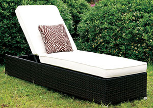 Albee ll White/Espresso Patio Chaise w/Pillow