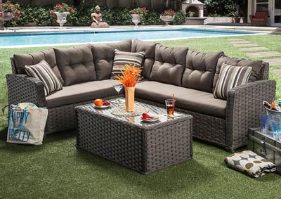Moura  Mocha Patio Sectional w/Patio Table