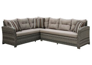 Moura Mocha Wicker Patio Sectional w/Pillows