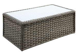 Moura Mocha Wicker Patio Table w/Glass Top