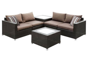 Alago Brown/Espresso Patio Sectional Set w/2 Accent Tables