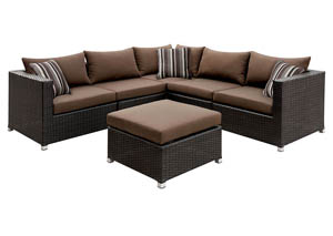 Abion Brown/Espresso Patio Sectional Set w/Ottoman & Accent Pillows
