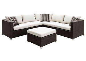 Abion Ivory/Espresso Patio Sectional Set w/Ottoman & Accent Pillows