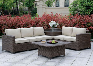 Bushnell Brown Sectional w/Corner Table