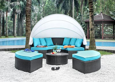 Aria Brown/Turquoise Patio Daybed Sectional