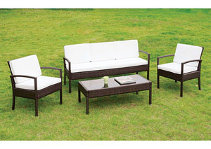Makenna White/Espresso 4 PC. Patio Seating Set (w/Coffee Table)
