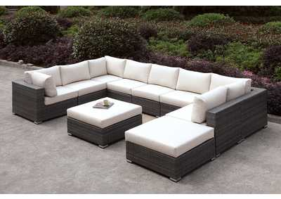 Somani Light Gray/Ivory Wicker U-Sectional w/Ottoman