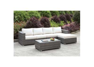 Somani Light Gray/Ivory Wicker L-Sectional w/Right Chaise & Coffee Table