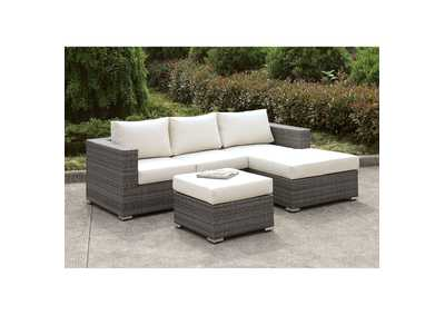 Somani Light Gray/Ivory Wicker Small L-Sectional w/Right Chaise & Ottoman