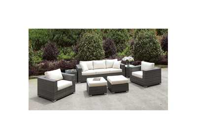 Somani Light Gray/Ivory Wicker Patio Set (Sofa, 2 Chairs, 2 End Tables & 2 Small Ottomans)
