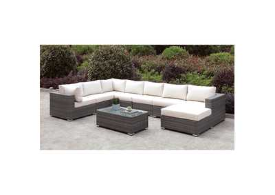Somani Light Gray/Ivory Wicker U-Sectional w/Coffee Table