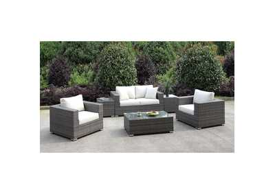 Somani Light Gray/Ivory Wicker Patio Set (Loveseat, 2 Chairs, 2 End Tables & Coffee Table)