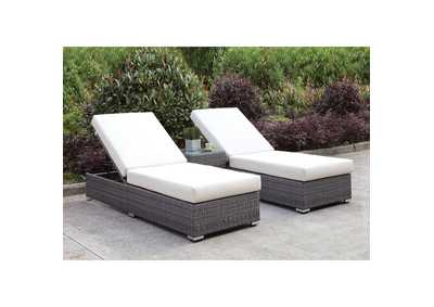 Image for Somani Light Gray/Ivory Wicker Patio Set (2 Adj Chaise & End Table)