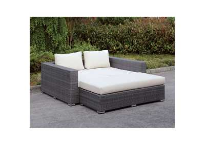 Somani Light Gray/Ivory Wicker Daybed Set