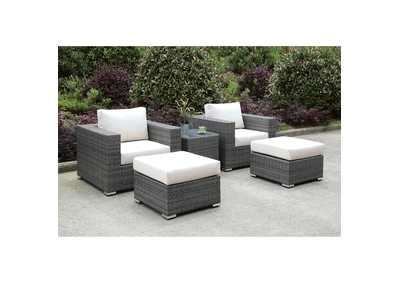 Somani Light Gray/Ivory Wicker Patio Set (2 Chairs, 2 Ottomans & End Table)