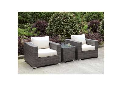 Somani Light Gray/Ivory Wicker Patio Set (2 Chairs & End Table)