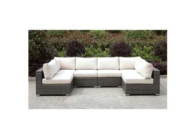 Somani Light Gray/Ivory Wicker U-Sectional