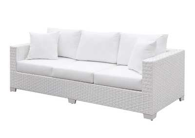 Somani White Wicker/White Cushion Sofa