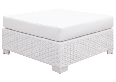 Somani White Wicker/White Cushion Ottoman