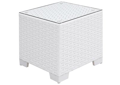 Somani White Wicker/White Cushion End Table