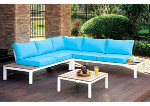 Winona Blue L-Shaped Patio Sectional w/Ottoman