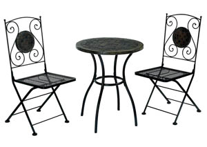 Betim Black Metal Patio Table w/Decorated Stone Top