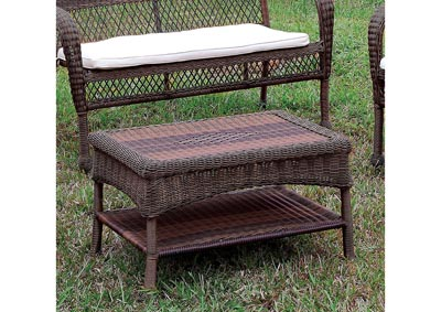 Olina Dark Brown Wicker Patio Table