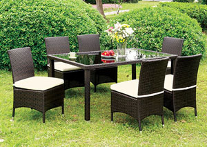 Comidore Espresso Wicker Glass-Top Patio Dining Table w/6 White Side Chairs